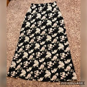 Maurices black floral maxi skirt